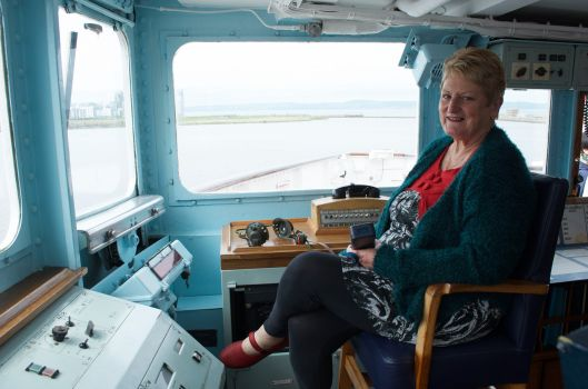Vicki trying out the Admiral's chair